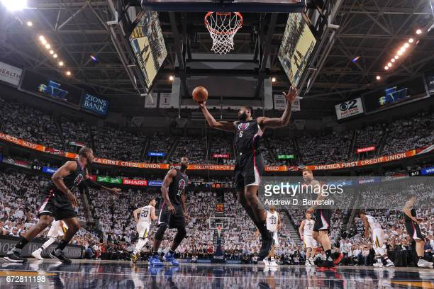 DeAndre Jordan of the LA Clippers grabs a rebound against the Utah Jazz during Game Three of the Western Conference Quarterfinals of the 2017 NBA...