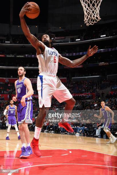 DeAndre Jordan of the LA Clippers grabs the rebound against the Sacramento Kings on October 12 2017 at STAPLES Center in Los Angeles California NOTE...