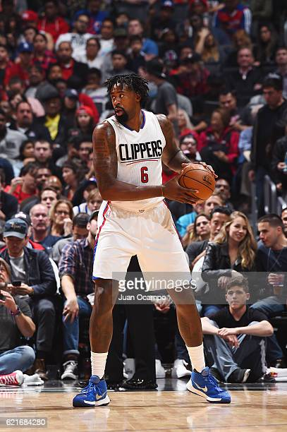 DeAndre Jordan of the LA Clippers handles the ball during a game against the Detroit Pistons on November 7 2016 at the STAPLES Center in Los Angeles...