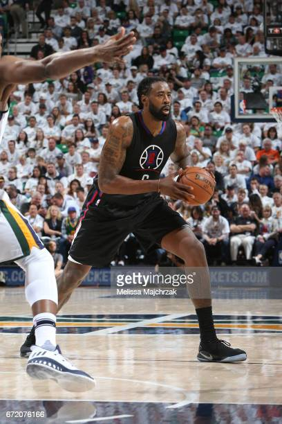 DeAndre Jordan of the LA Clippers looks to pass against the Utah Jazz during Game Four of the Western Conference Quarterfinals of the 2017 NBA...