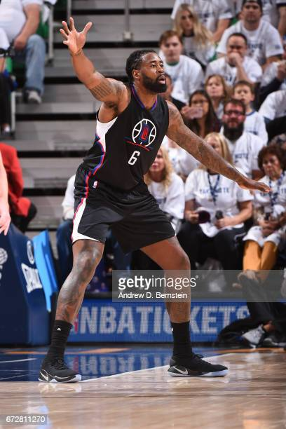 DeAndre Jordan of the LA Clippers plays defense against the Utah Jazz during Game Three of the Western Conference Quarterfinals of the 2017 NBA...