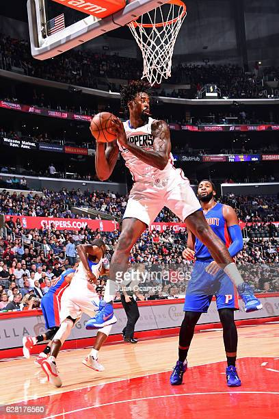 DeAndre Jordan of the LA Clippers rebounds against the Detroit Pistons on November 7 2016 at the STAPLES Center in Los Angeles California NOTE TO...