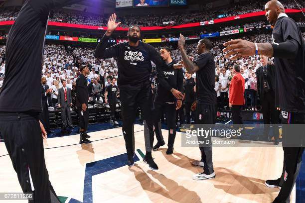DeAndre Jordan of the LA Clippers runs out before Game Three of the Western Conference Quarterfinals against the Utah Jazz of the 2017 NBA Playoffs...