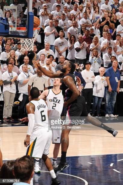 DeAndre Jordan of the LA Clippers shoots a lay up during the game against the Utah Jazz in Game Four during the Western Conference Quarterfinals of...