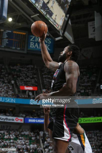 DeAndre Jordan of the LA Clippers shoots the ball against the Utah Jazz during Game Four of the Western Conference Quarterfinals of the 2017 NBA...