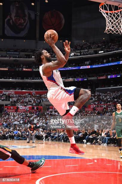 DeAndre Jordan of the LA Clippers shoots the ball against the Utah Jazz in Game Five of the Western Conference Quarterfinals of the 2017 NBA Playoffs...