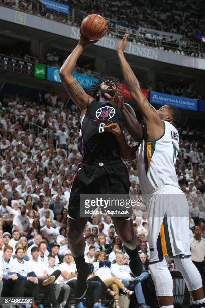 DeAndre Jordan of the LA Clippers shoots the ball against the Utah Jazz in Game Six of the Western Conference Quarterfinals of the 2017 NBA Playoffs...