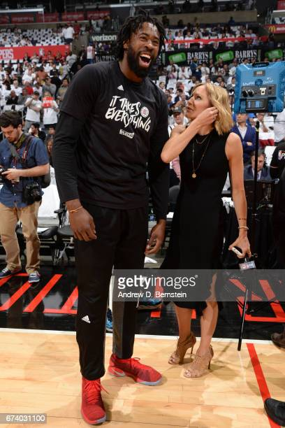 DeAndre Jordan of the LA Clippers smiles on the court before Game Five of the Western Conference Quarterfinals against the Utah Jazz during the 2017...