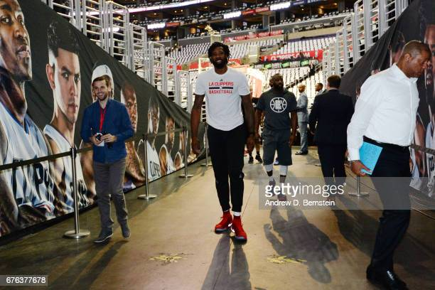 DeAndre Jordan of the LA Clippers walks off the court before Game Seven of the Western Conference Quarterfinals against the Utah Jazz of the 2017 NBA...