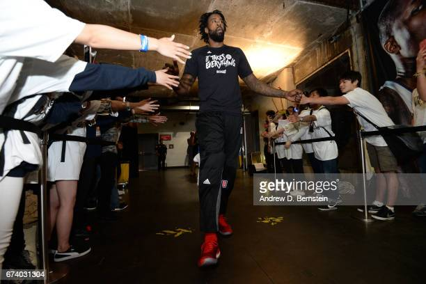 DeAndre Jordan of the LA Clippers walks through the fans before Game Five of the Western Conference Quarterfinals against the Utah Jazz during the...