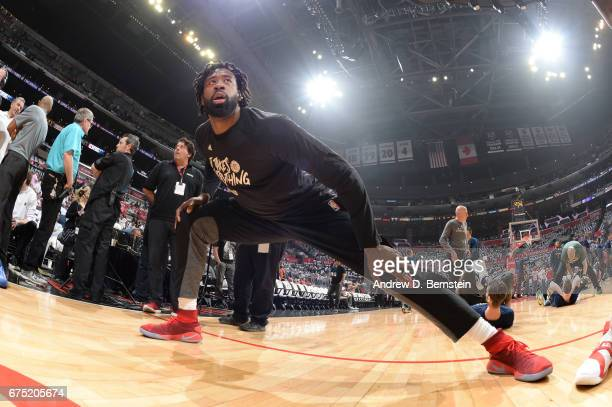 DeAndre Jordan of the LA Clippers warms up before Game Seven of the Western Conference Quarterfinals of the 2017 NBA Playoffs on April 30 2017 at...
