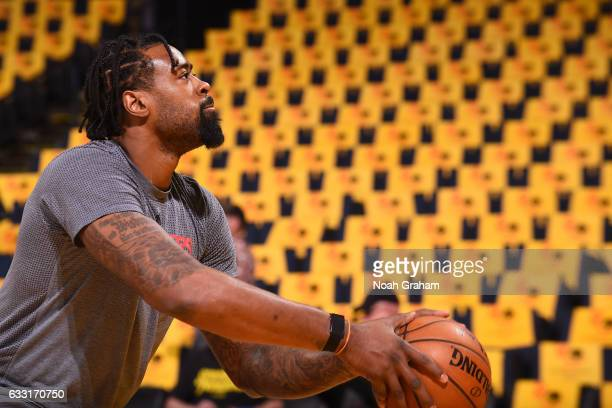 DeAndre Jordan of the LA Clippers warms up before the game against the Golden State Warriors on January 28 2017 at ORACLE Arena in Oakland California...