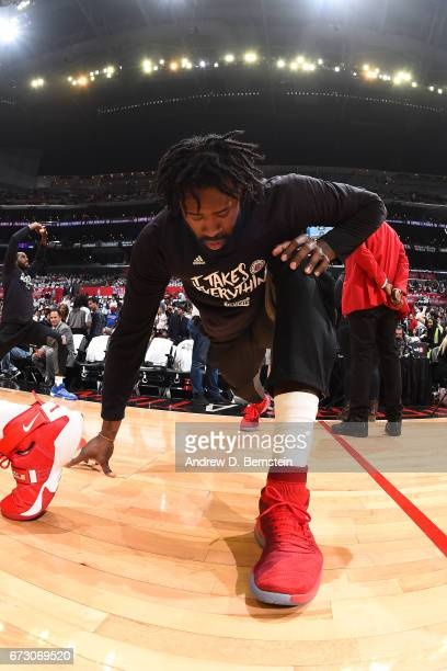 DeAndre Jordan of the LA Clippers warms up before the game against the Utah Jazz in Game Five of the Western Conference Quarterfinals of the 2017 NBA...