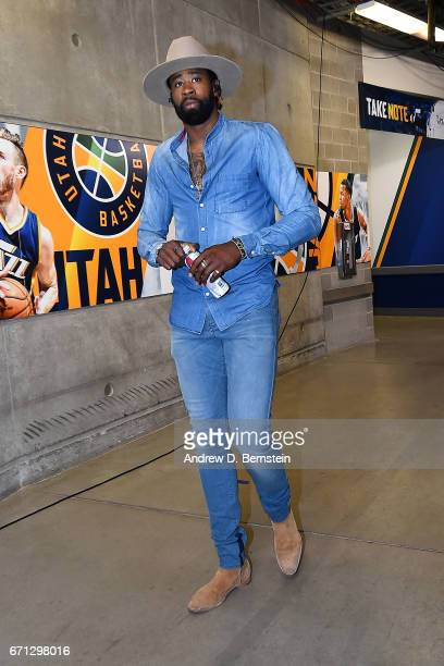 DeAndre Jordan of the Los Angeles Clippers arrival during the Western Conference Quarterfinals of the 2017 NBA Playoffs on April 21 2017 at Vivint...