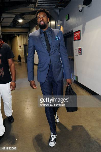 DeAndre Jordan of the Los Angeles Clippers arrives at the arena before a game against the San Antonio Spurs in Game Seven of the Western Conference...