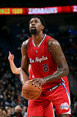 DeAndre Jordan of the Los Angeles Clippers attempts a free throw against the New Orleans Pelicans on January 30 2015 at Smoothie King Center in New...