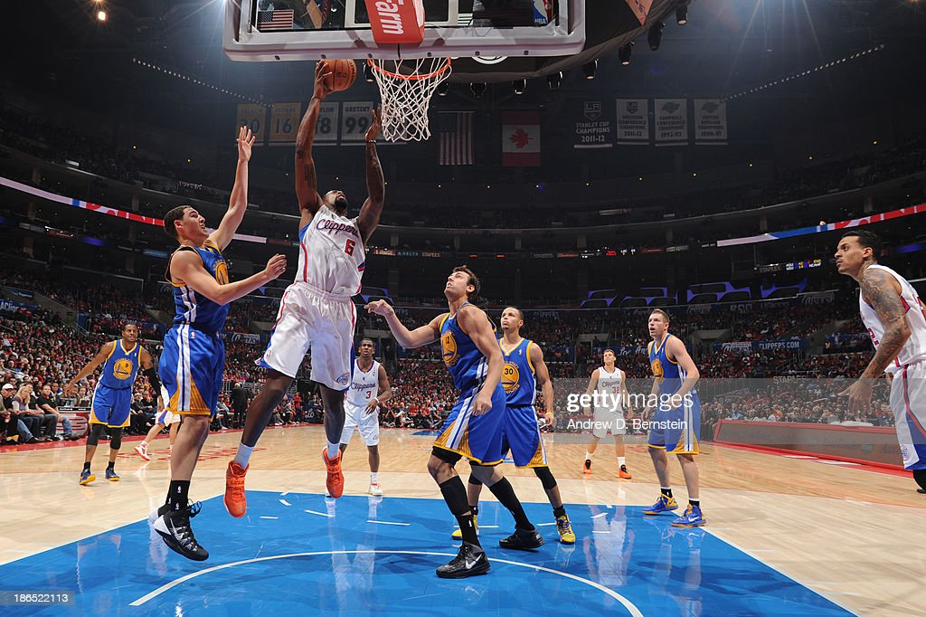<a gi-track='captionPersonalityLinkClicked' href=/galleries/search?phrase=DeAndre+Jordan&family=editorial&specificpeople=4665718 ng-click='$event.stopPropagation()'>DeAndre Jordan</a> #6 of the Los Angeles Clippers attempts a shot during a game against the Golden State Warriors at STAPLES Center on October 31, 2013 at in Los Angeles, California.
