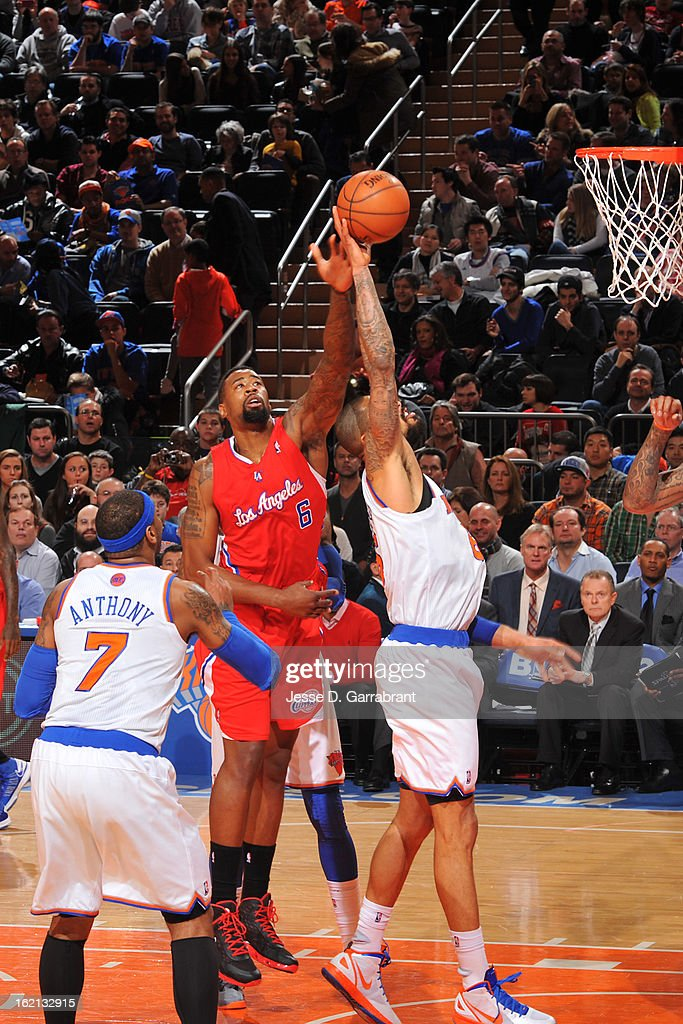 DeAndre Jordan #6 of the Los Angeles Clippers attempts to block a shot against Tyson Chandler #6 of the New York Knicks on February 10, 2013 at Madison Square Garden in New York City.