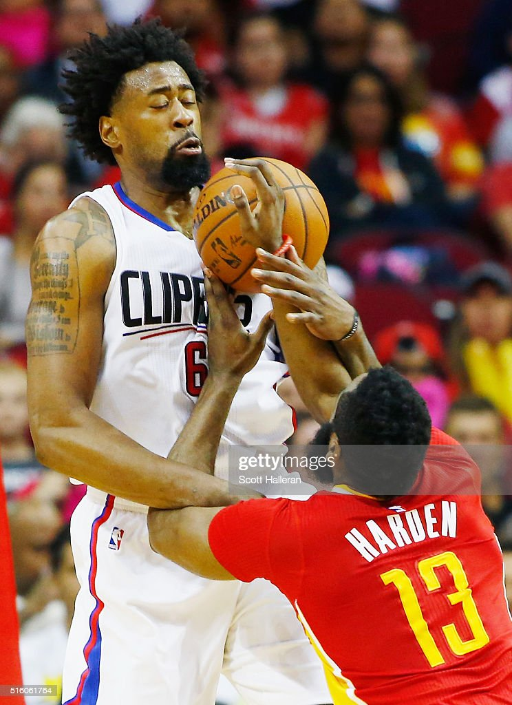 DeAndre Jordan of the Los Angeles Clippers blocks a shot from James Harden of the Houston Rockets during their game at the Toyota Center on March 16...