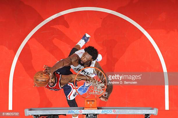 DeAndre Jordan of the Los Angeles Clippers blocks the shot of Ramon Sessions of the Washington Wizards on April 3 2016 at STAPLES Center in Los...