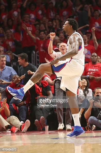 DeAndre Jordan of the Los Angeles Clippers celebrates after blocking a shot by Manu Ginobli of the San Antonio Spurs during Game One of the Western...