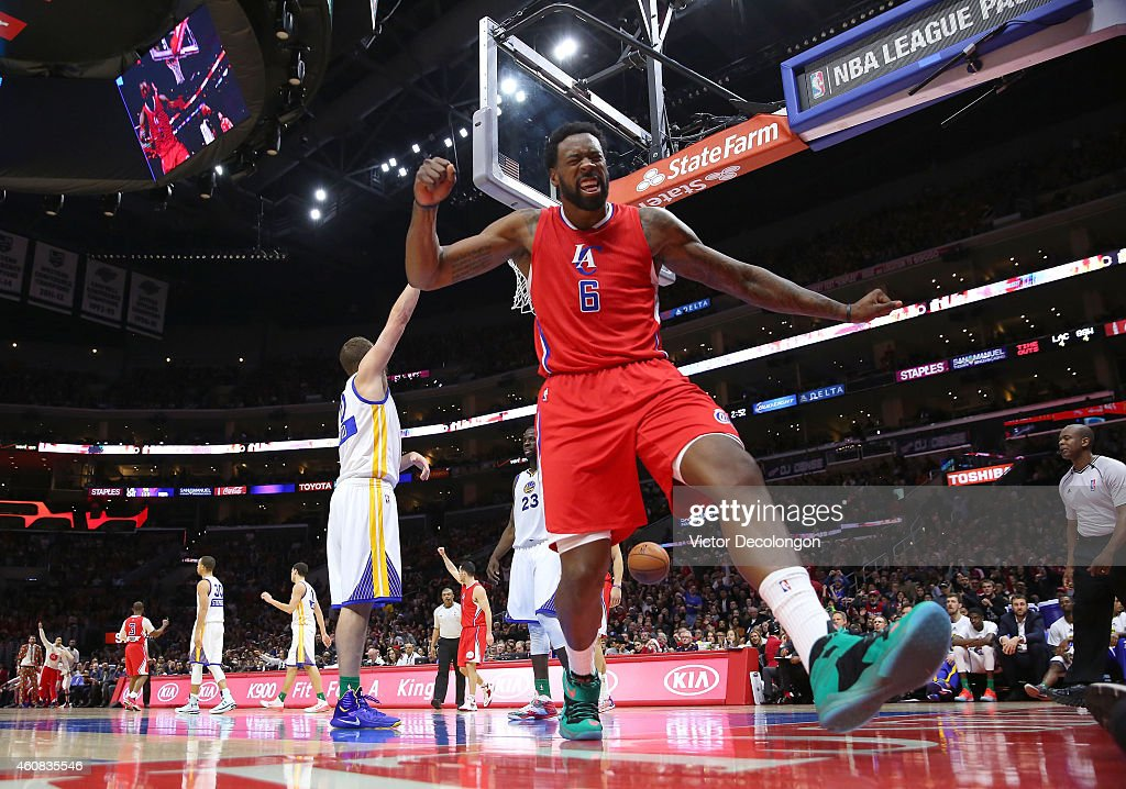 <a gi-track='captionPersonalityLinkClicked' href=/galleries/search?phrase=DeAndre+Jordan&family=editorial&specificpeople=4665718 ng-click='$event.stopPropagation()'>DeAndre Jordan</a> #6 of the Los Angeles Clippers celebrates after making a shot while being fouled in the second half during the NBA game against the Golden State Warriors at Staples Center on December 25, 2014 in Los Angeles, California.