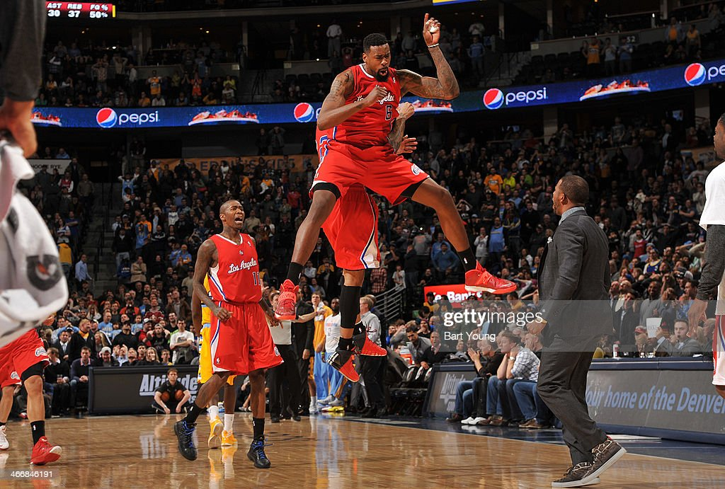 <a gi-track='captionPersonalityLinkClicked' href=/galleries/search?phrase=DeAndre+Jordan&family=editorial&specificpeople=4665718 ng-click='$event.stopPropagation()'>DeAndre Jordan</a> #6 of the Los Angeles Clippers celebrates against the Denver Nuggets on February 3, 2014 at the Pepsi Center in Denver, Colorado.