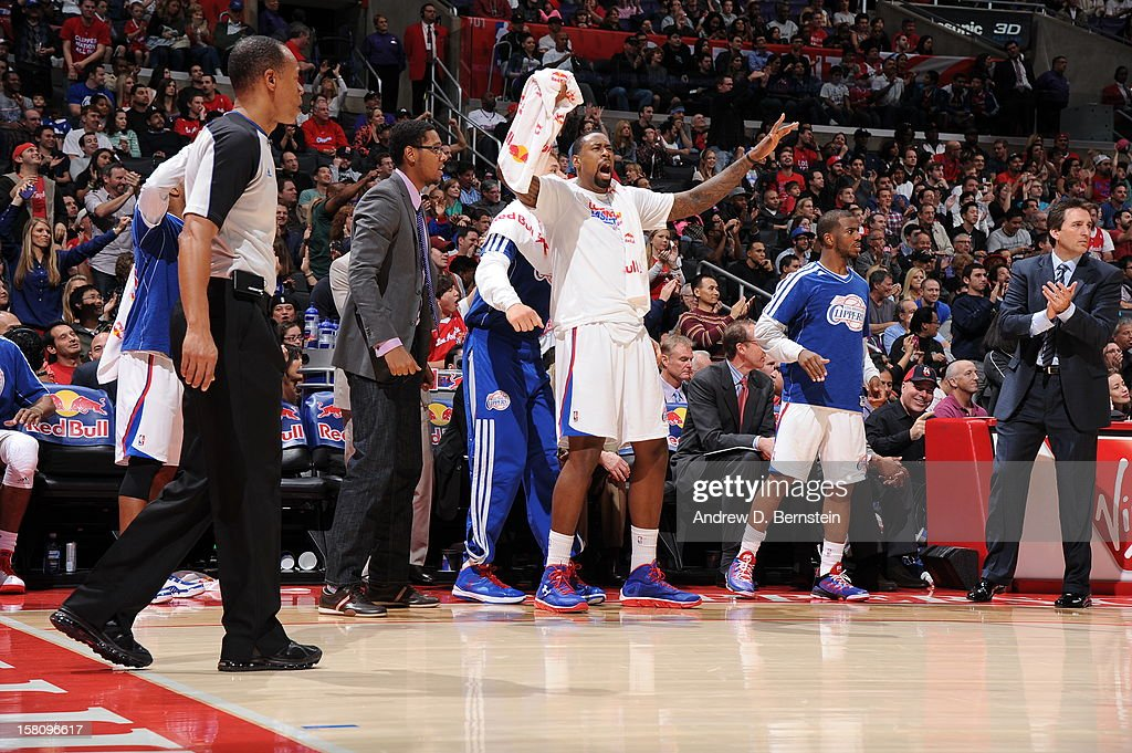 <a gi-track='captionPersonalityLinkClicked' href=/galleries/search?phrase=DeAndre+Jordan&family=editorial&specificpeople=4665718 ng-click='$event.stopPropagation()'>DeAndre Jordan</a> #6 of the Los Angeles Clippers celebrates during the game against the Phoenix Suns at Staples Center on December 8, 2012 in Los Angeles, California.