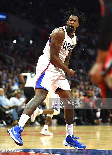 DeAndre Jordan of the Los Angeles Clippers celebrates his basket during a 11180 win over the Portland Trail Blazers at Staples Center on November 9...