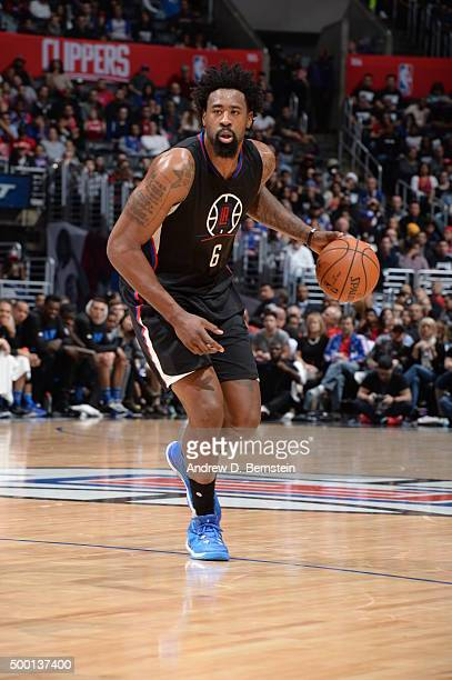 DeAndre Jordan of the Los Angeles Clippers dribbles the ball against the Orlando Magic on December 5 2015 at STAPLES Center in Los Angeles California...