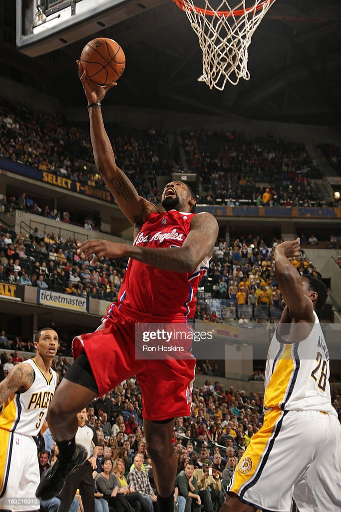 DeAndre Jordan #6 of the Los Angeles Clippers drives to the basket against the Indiana Pacers on February 28, 2013 at Bankers Life Fieldhouse in Indianapolis, Indiana.
