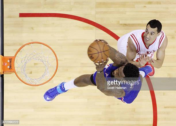 DeAndre Jordan of the Los Angeles Clippers drives with the ball against Pablo Prigioni of the Houston Rockets during Game Two in the Western...