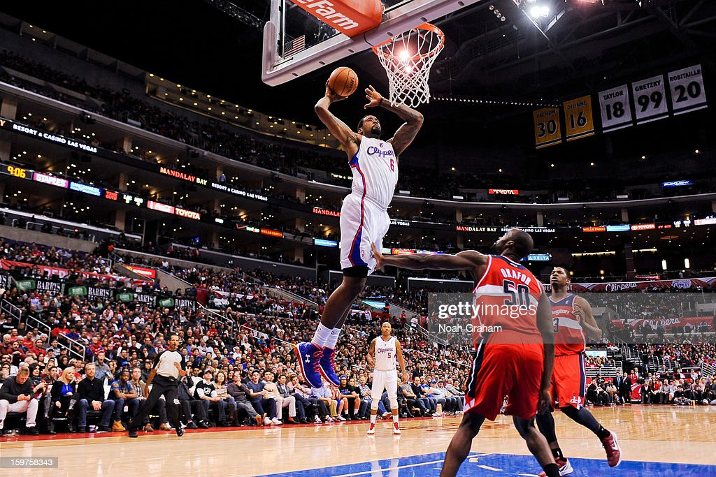 DeAndre Jordan #6 of the Los Angeles Clippers dunks against Emeka Okafor #50 of the Washington Wizards at Staples Center on January 19, 2013 in Los Angeles, California.