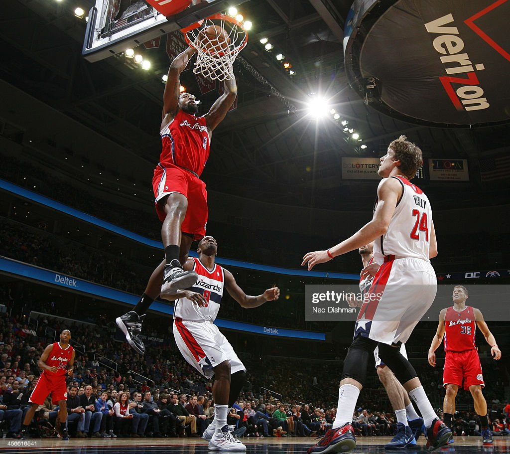 <a gi-track='captionPersonalityLinkClicked' href=/galleries/search?phrase=DeAndre+Jordan&family=editorial&specificpeople=4665718 ng-click='$event.stopPropagation()'>DeAndre Jordan</a> #6 of the Los Angeles Clippers dunks against Martell Webster #9 of the Washington Wizards during the game at the Verizon Center on December 14, 2013 in Washington, DC.