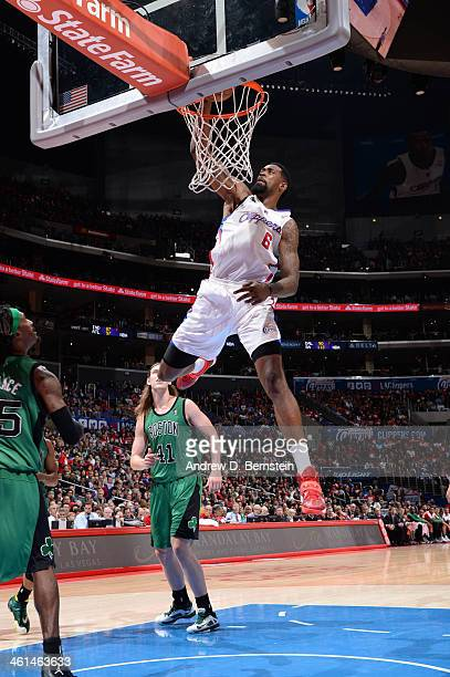 DeAndre Jordan of the Los Angeles Clippers dunks against the Boston Celtics at Staples Center on January 8 2014 in Los Angeles California NOTE TO...