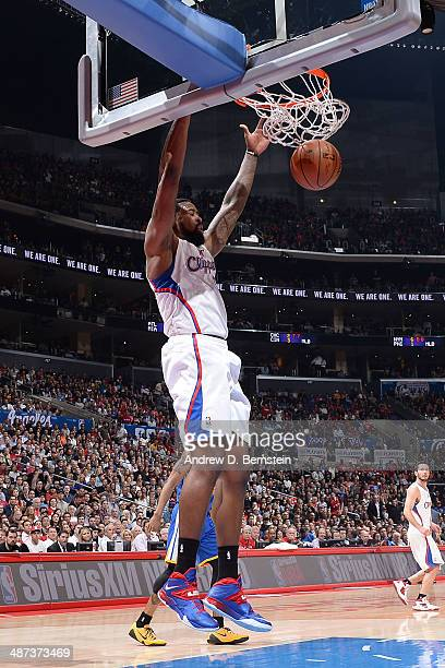 DeAndre Jordan of the Los Angeles Clippers dunks against the Golden State Warriors in Game Five of the Western Conference Quarterfinals at Staples...