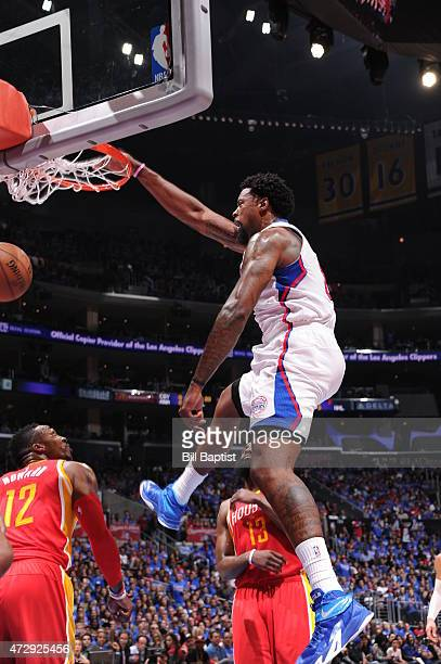 DeAndre Jordan of the Los Angeles Clippers dunks against the Houston Rockets in Game Four of the Western Conference Semifinals during the 2015 NBA...
