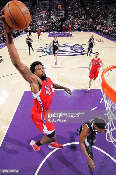 DeAndre Jordan of the Los Angeles Clippers dunks against the Sacramento Kings on October 28 2015 at Sleep Train Arena in Sacramento California NOTE...