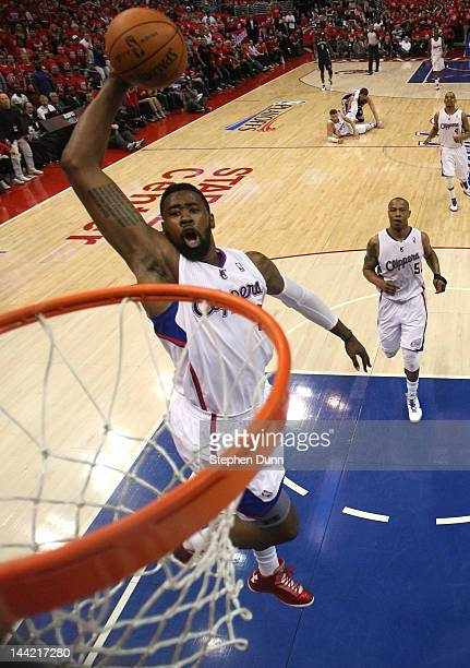 DeAndre Jordan of the Los Angeles Clippers dunks against the Memphis Grizzlies in Game Four of the Western Conference Quarterfinals in the 2012 NBA...