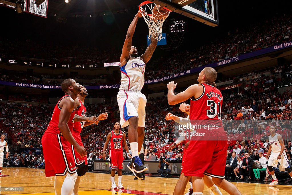 <a gi-track='captionPersonalityLinkClicked' href=/galleries/search?phrase=DeAndre+Jordan&family=editorial&specificpeople=4665718 ng-click='$event.stopPropagation()'>DeAndre Jordan</a> #6 of the Los Angeles Clippers dunks against the Miami Heat on February 8, 2013 at American Airlines Arena in Miami, Florida.