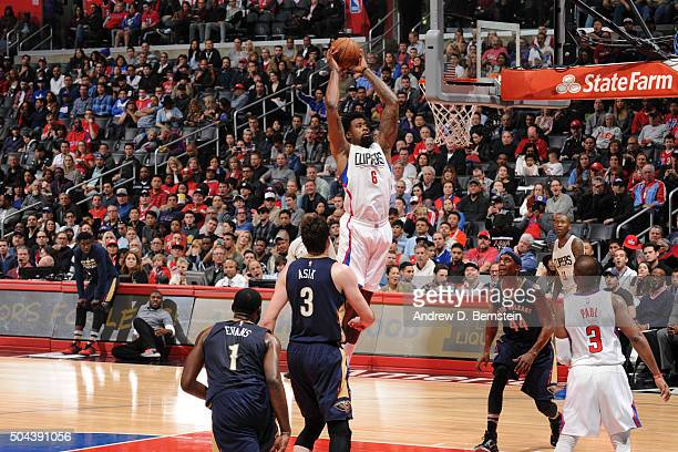 DeAndre Jordan of the Los Angeles Clippers dunks against the New Orleans Pelicans on January 10 2016 at STAPLES Center in Los Angeles California NOTE...