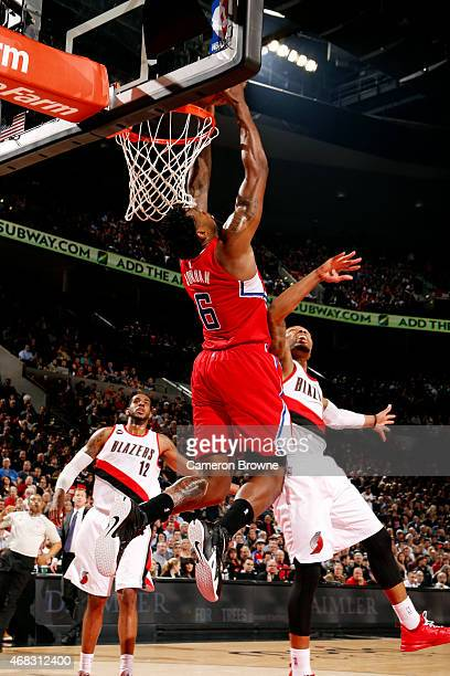 DeAndre Jordan of the Los Angeles Clippers dunks against the Portland Trail Blazers on April 1 2015 at the Moda Center in Portland Oregon NOTE TO...