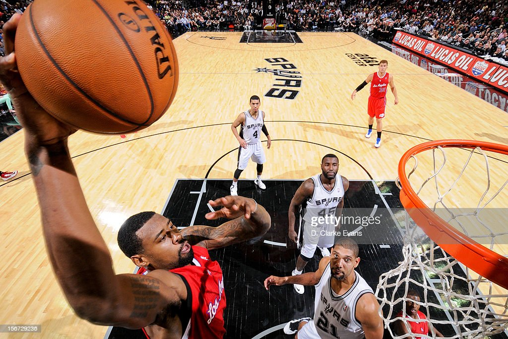 <a gi-track='captionPersonalityLinkClicked' href=/galleries/search?phrase=DeAndre+Jordan&family=editorial&specificpeople=4665718 ng-click='$event.stopPropagation()'>DeAndre Jordan</a> #6 of the Los Angeles Clippers dunks against the San Antonio Spurs on November 19, 2012 at the AT&T Center in San Antonio, Texas.