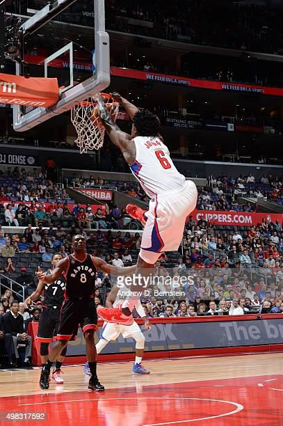 DeAndre Jordan of the Los Angeles Clippers dunks against the Toronto Raptors on November 22 2015 at STAPLES Center in Los Angeles California NOTE TO...