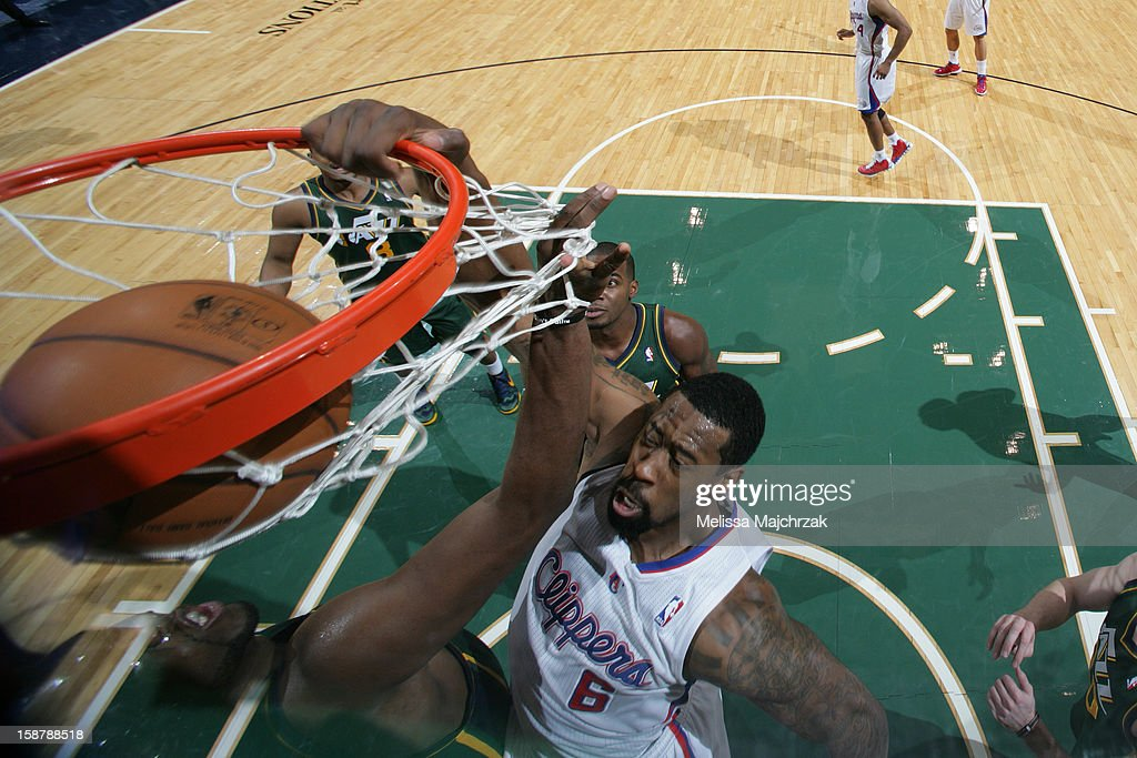 <a gi-track='captionPersonalityLinkClicked' href=/galleries/search?phrase=DeAndre+Jordan&family=editorial&specificpeople=4665718 ng-click='$event.stopPropagation()'>DeAndre Jordan</a> #6 of the Los Angeles Clippers dunks against the Utah Jazz at Energy Solutions Arena on December 28, 2012 in Salt Lake City, Utah.