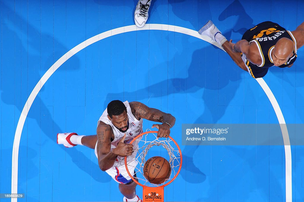 <a gi-track='captionPersonalityLinkClicked' href=/galleries/search?phrase=DeAndre+Jordan&family=editorial&specificpeople=4665718 ng-click='$event.stopPropagation()'>DeAndre Jordan</a> #6 of the Los Angeles Clippers dunks against the Utah Jazz at Staples Center on October 23, 2013 in Los Angeles, California.