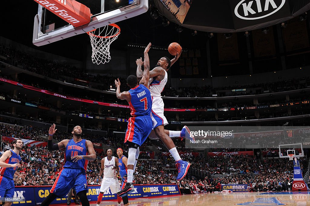 <a gi-track='captionPersonalityLinkClicked' href=/galleries/search?phrase=DeAndre+Jordan&family=editorial&specificpeople=4665718 ng-click='$event.stopPropagation()'>DeAndre Jordan</a> #6 of the Los Angeles Clippers dunks on an alley-oop pass from teammate Chris Paul #3 against Brandon Knight #7 of the Detroit Pistons at Staples Center on March 10, 2013 in Los Angeles, California.