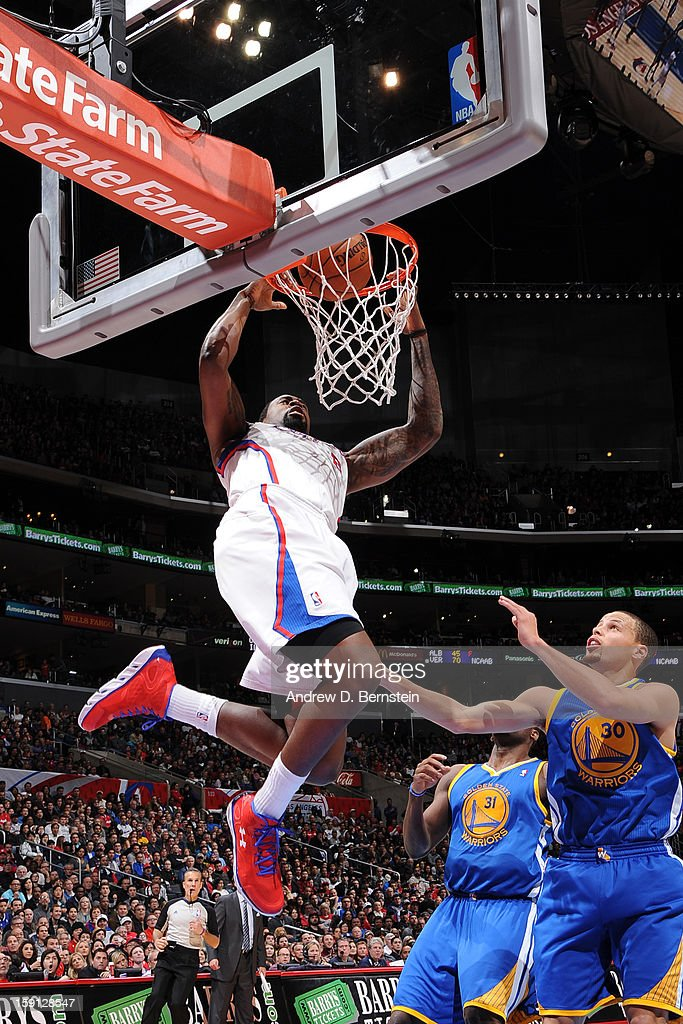 <a gi-track='captionPersonalityLinkClicked' href=/galleries/search?phrase=DeAndre+Jordan&family=editorial&specificpeople=4665718 ng-click='$event.stopPropagation()'>DeAndre Jordan</a> #6 of the Los Angeles Clippers dunks the ball against the Golden State Warriors at Staples Center on January 5, 2013 in Los Angeles, California.
