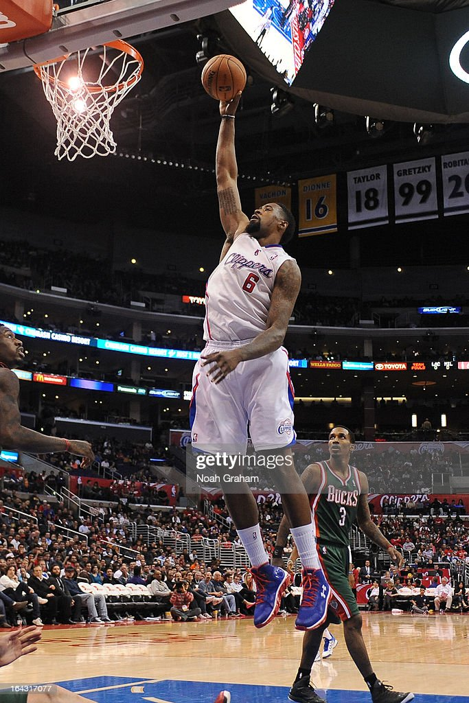 <a gi-track='captionPersonalityLinkClicked' href=/galleries/search?phrase=DeAndre+Jordan&family=editorial&specificpeople=4665718 ng-click='$event.stopPropagation()'>DeAndre Jordan</a> #6 of the Los Angeles Clippers dunks the ball against the Milwaukee Bucks at Staples Center on March 6, 2013 in Los Angeles, California.