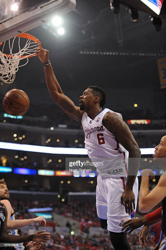 <a gi-track='captionPersonalityLinkClicked' href=/galleries/search?phrase=DeAndre+Jordan&family=editorial&specificpeople=4665718 ng-click='$event.stopPropagation()'>DeAndre Jordan</a> #6 of the Los Angeles Clippers dunks the ball against the Memphis Grizzlies at Staples Center in Game Five of the Western Conference Quarterfinals during the 2013 NBA Playoffs on April 30, 2013 in Los Angeles, California.